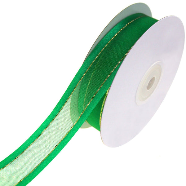 Gold-Lined Satin Edge Organza Ribbon, Emerald, 7/8-Inch, 25-Yard