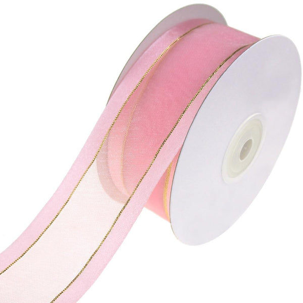 Gold-Lined Satin Edge Organza Ribbon, Light Pink, 1-1/2-Inch, 25-Yard