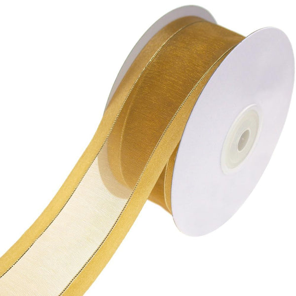 Gold-Lined Satin Edge Organza Ribbon, Antique Gold, 1-1/2-Inch, 25-Yard
