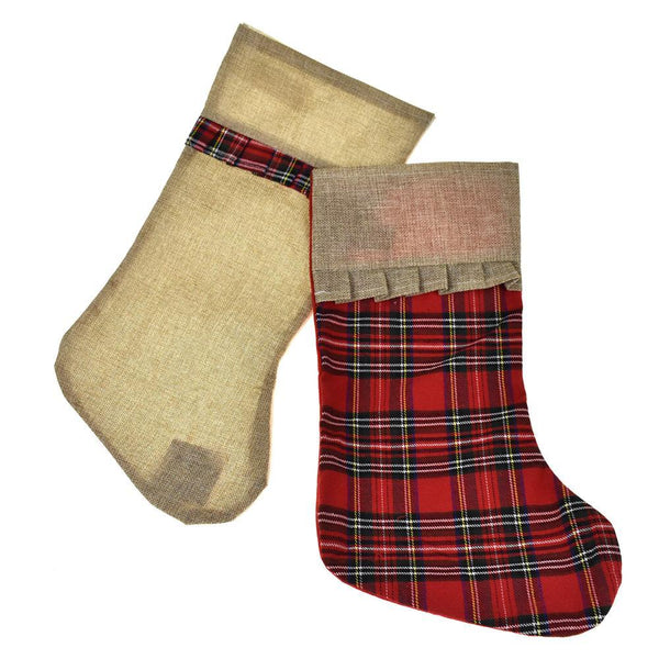 Plaid and Burlap Christmas Stockings, 18-Inch, 2-Piece