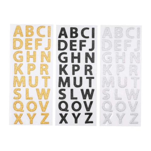 Glitter Alphabet Letter Upper Case Stickers, Gold/Red/Silver, 1-Inch, 3-Packs