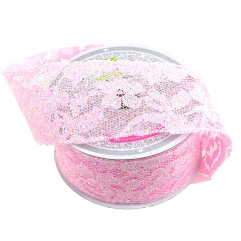 Floral Lace Trim Ribbon with Glitters, 2-Inch, 10 Yards, Pink
