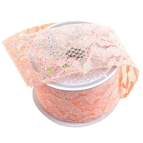 Floral Lace Trim Ribbon with Glitters, 2-Inch, 10 Yards, Light Peach