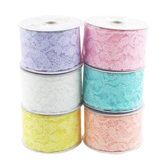 Floral Lace Trim Ribbon with Glitters, 2-Inch, 10 Yards