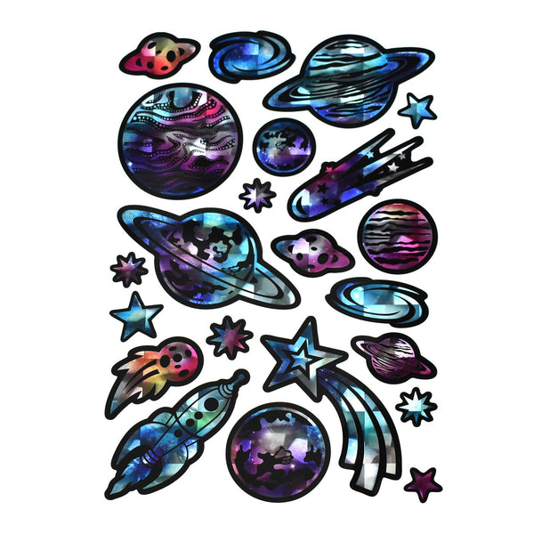 Outer Space Galaxy Holographic Foil Stickers, 22-Piece