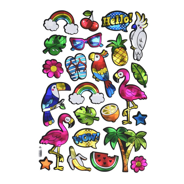 Flamingo Holographic Foil Stickers, 25-Piece