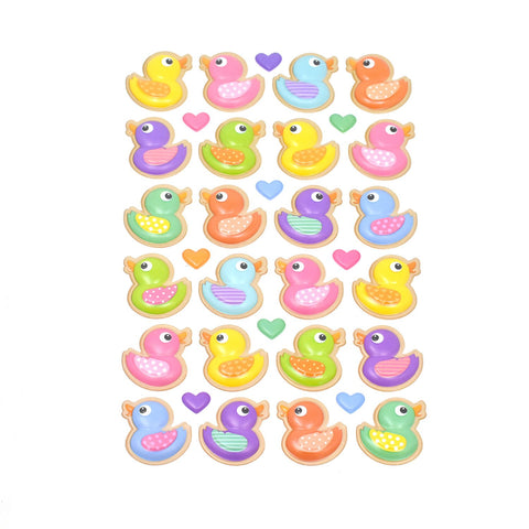 Pastel Rubber Ducky Pop-Up Stickers, 33-Piece