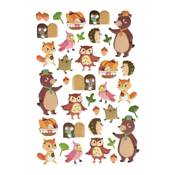 Woodland Friends Puffy Metallic Foil Stickers, 36-Piece