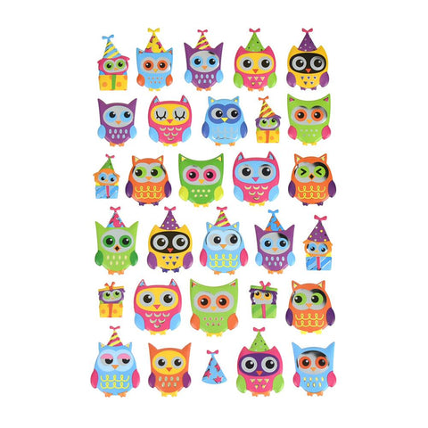 Owl Party Jubiliee Puffy Metallic Foil Stickers, 30-Piece