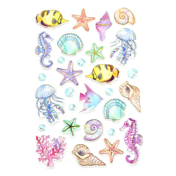 Under The Sea Foil Accented Watercolor Epoxy Stickers, 30-Piece