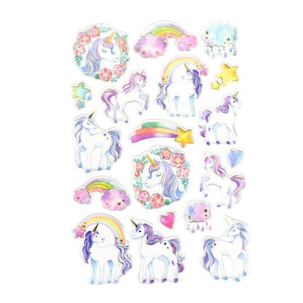 Unicorn Foil Accented Watercolor Epoxy Stickers, 19-Piece