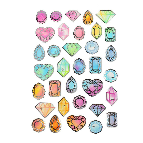 Diamond Gem Foil Accented Watercolor Epoxy Stickers, 29-Piece