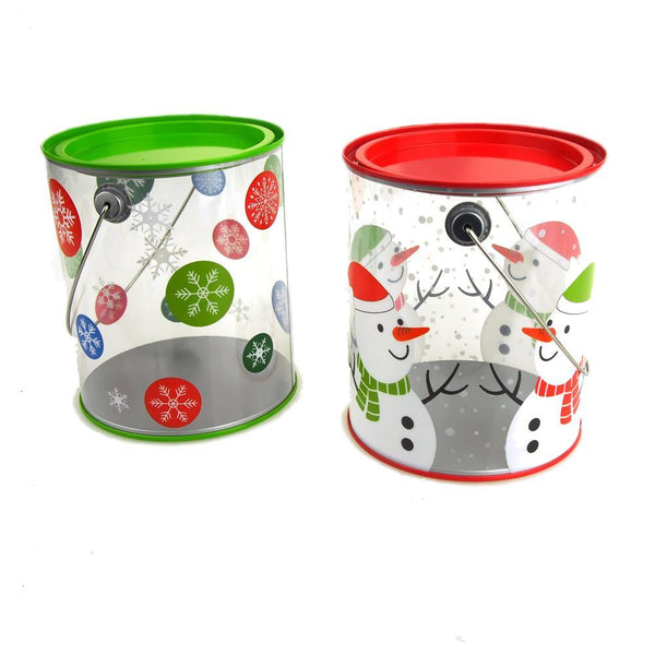 Snowman and Snowflake Rounded Tin Christmas Paintcan, 6-Inch, 2-Piece