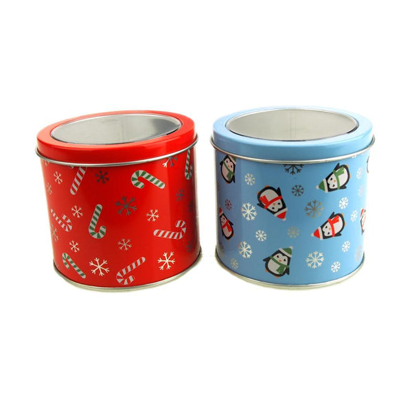 Round Cylinder Christmas Graphic Tin Box, 3-1/4-Inch, 2-Piece