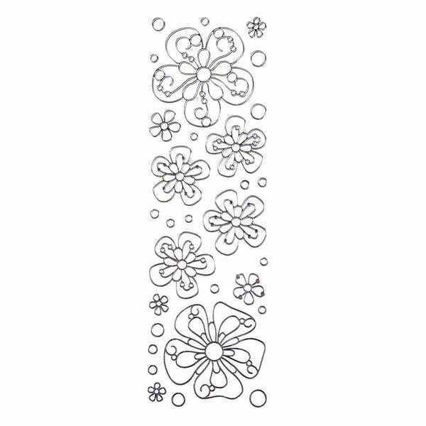 Flower Daisies 3D Clear Foil Stickers, Silver, 11-Count