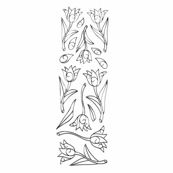 Tulips Flower 3D Clear Foil Stickers, Silver, 8-Count