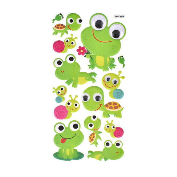 Critter Pals Googly Eye Puffy Stickers, 14-Piece