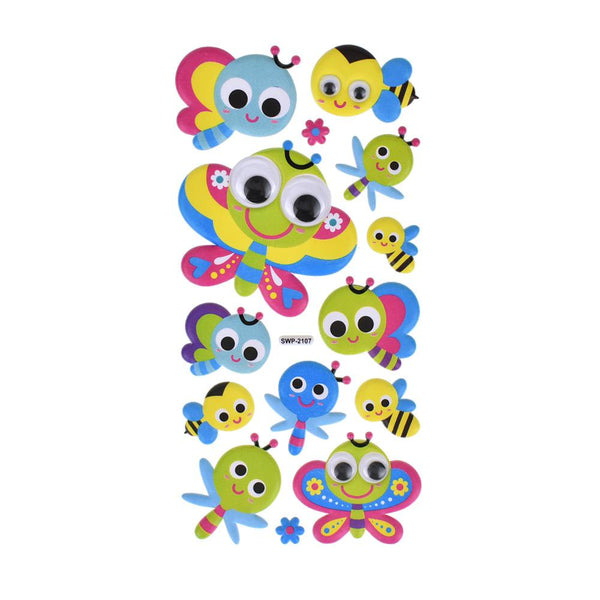 Flying Friends Googly Eye Puffy Stickers, 14-Piece