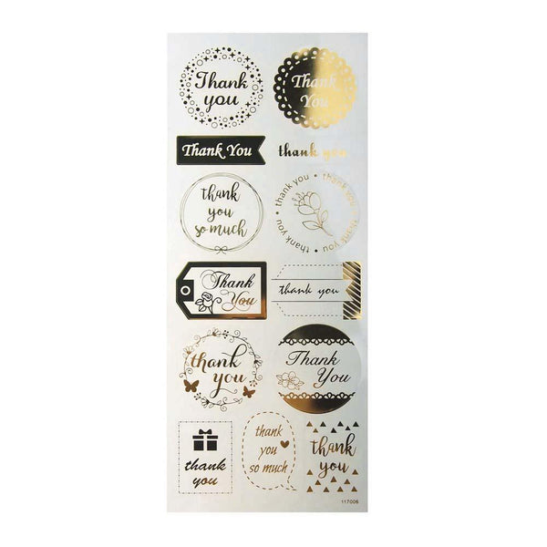 Thank You Wedding Clear Foil Stickers, Gold, 13-Count