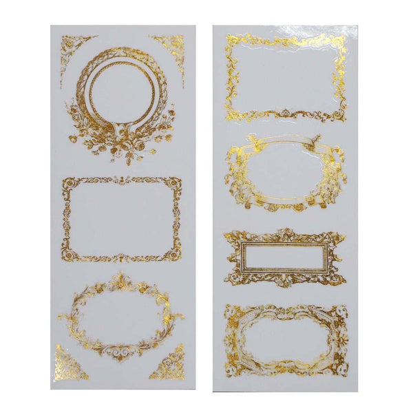 Elegant Frames Foil Stickers, Rectangle, Gold, 2-Sheets