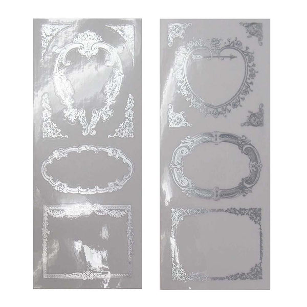 Elegant Frames Foil Stickers, Heart/Rectangle, Silver, 2-Sheets