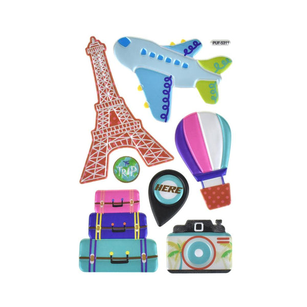 Travel Themed Puffy Embossed Stickers, 7-Piece