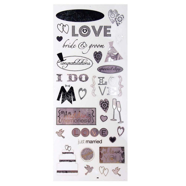 Bride & Groom Photo Safe Clear Foil Stickers, 30-Count