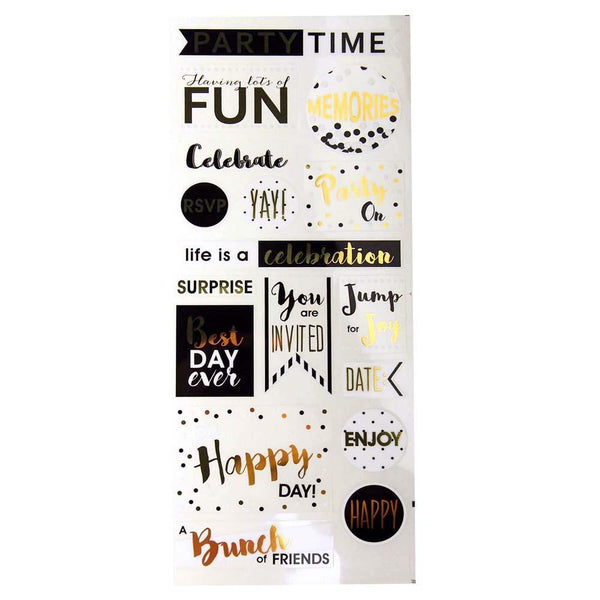 Party Time Photo Safe Clear Foil Stickers, 17-Count
