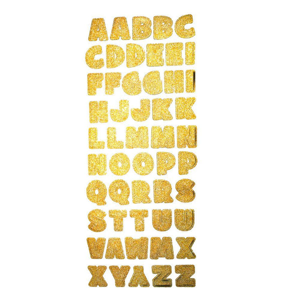Glitter Alphabet Letter Photo Safe Foil Stickers, Gold, 1-Inch, 52-Count