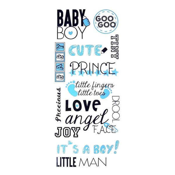 Welcome Baby Boy Clear Photo Safe Stickers, Light Blue, 14-Inch