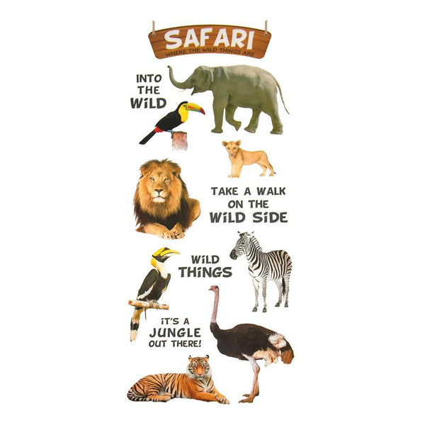 Safari Animals Clear Photo Safe Paper Stickers, 13-Count