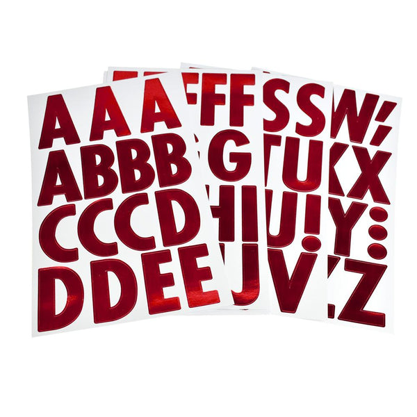 Big Font Alphabet Letter Stickers, Caps, 3-Inch, 82-Count, Metallic Red
