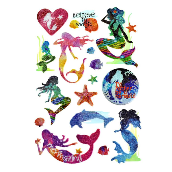 Ocean Mermaid 3D Puffy Glitter Stickers, 16-Piece