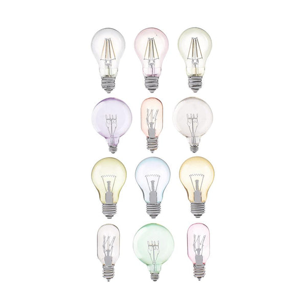 Light Bulb Foil Accented Puffy Stickers, 12-Piece
