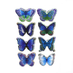 Shades of Blue Pop-Up Foil Butterflies 3D Stickers, 8-Piece