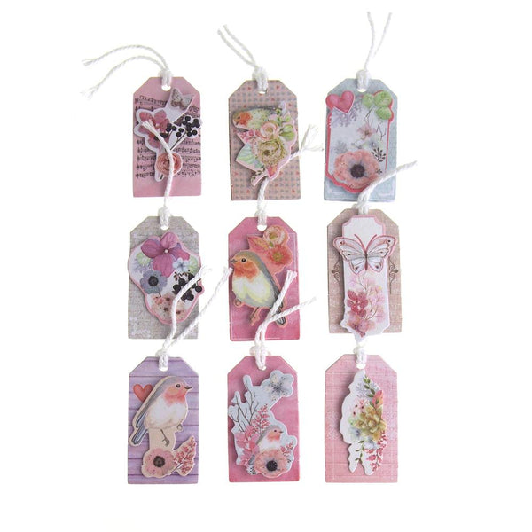 Floral Birds 3D Handmade Tags Sticker, 1-3/4-Inch, 9-Count
