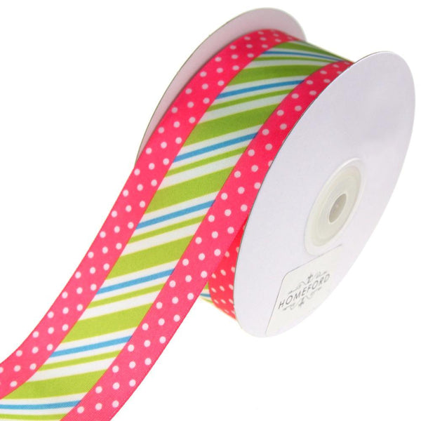 Striped Center and Dotted Edge Satin Ribbon, 1-1/2-Inch, 10-Yard