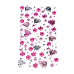 Heart Bubble Gems 3D Rhinestone Stickers, 110-Piece