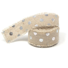 Fringed Linen Ribbon with Metallic Dots, 1-Inch, 5-Yard, Silver