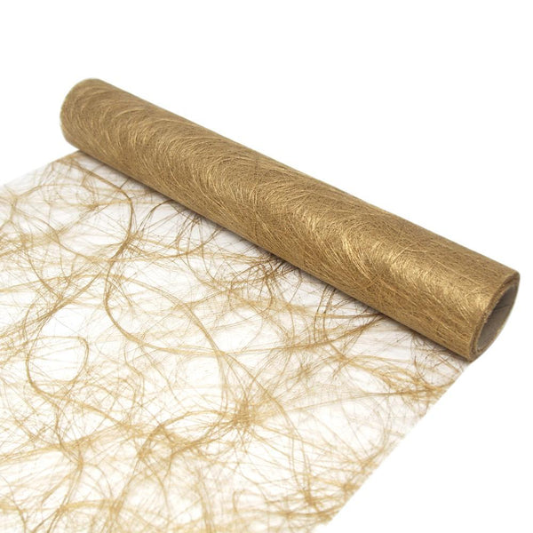 Soft Pliable Fiberweb Sisal Mesh Wrap, 12-Inch, 5-Yard, Metallic Gold