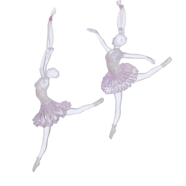 Dancing Acrylic Ballerina Christmas Ornaments, 5-1/2-Inch, 2-Piece