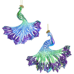 Iridescent Glitter Accent Acrylic Peacock Christmas Ornaments, 5-1/2-Inch, 2-Piece