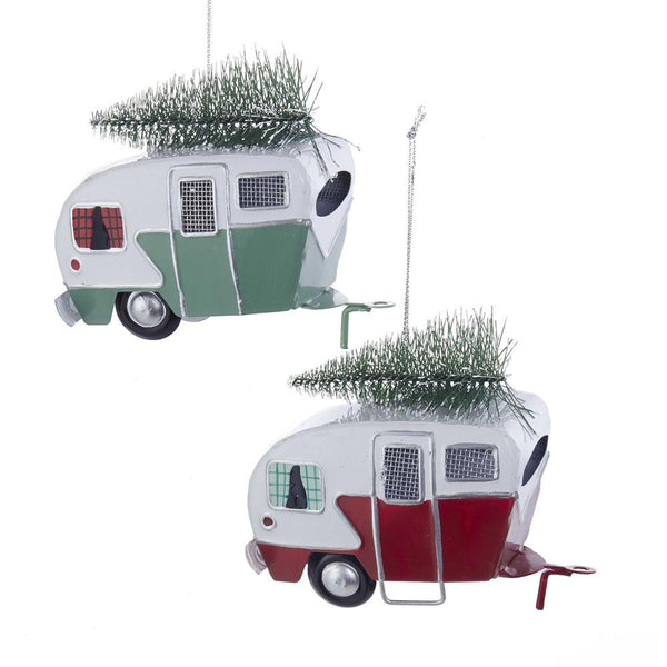 Metal Camper with Christmas Tree Ornament, Red/Green, 4-Inch, 2-Piece