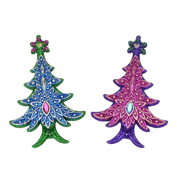 Peacock Glitter Christmas Tree Ornaments, 6-Inch, 2-Piece