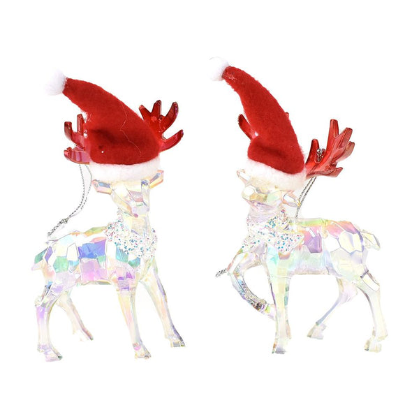 Geometric Iridescent Reindeer with Santa Hat Ornaments, 5-Inch, 2-Piece