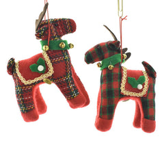 Plaid Reindeer with Jingle Bells Ornaments, 6-1/2-Inch, 2-Piece