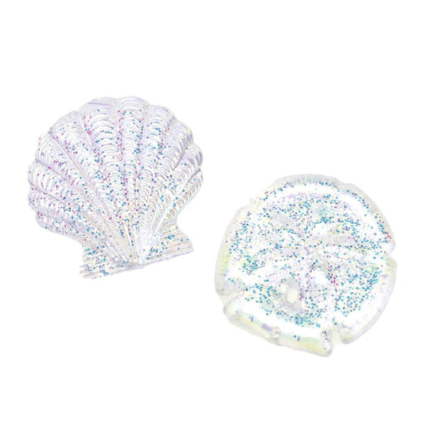 Glittered Iridescent Seashells Christmas Ornaments, 2-1/2-Inch, 2-Piece