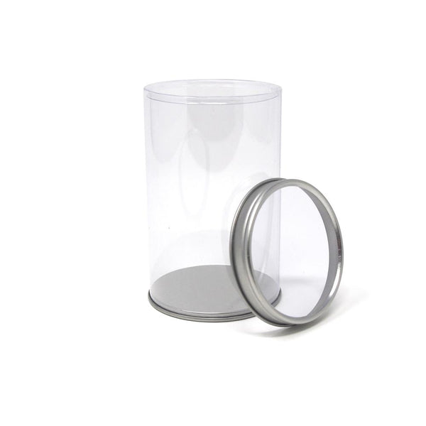 Party Favor Cylinder with Clear Window Tin Lid, 4.4-Inch