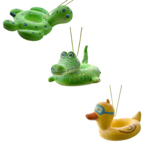 Turtle, Crocodile and Duck Floaty Ornaments, 3-Inch, 3-Piece