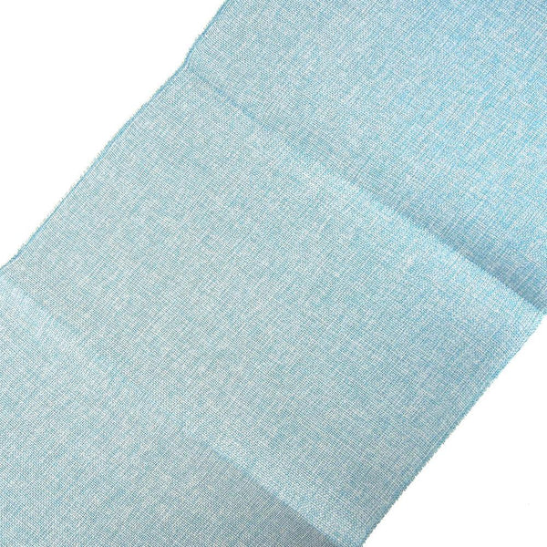 Faux Jute Rectangular Table Runner, Light Blue, 72-Inch